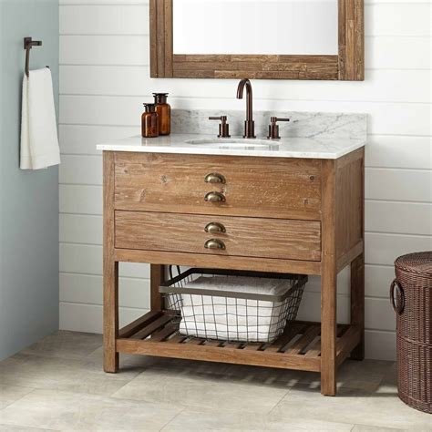 Wooden Bathroom Sink Cabinets by 36 Quot Benoist Reclaimed Wood Console Vanity For Undermount