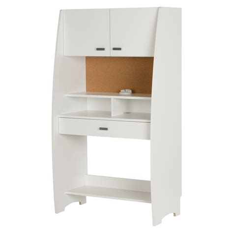 storage desk with hutch south shore reevo desk with hutch and storage pure white