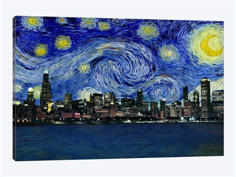 chicago illinois starry night skyline canvas print by icanvas icanvas