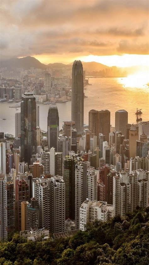 cityscapes hong kong city skyline bay wallpaper