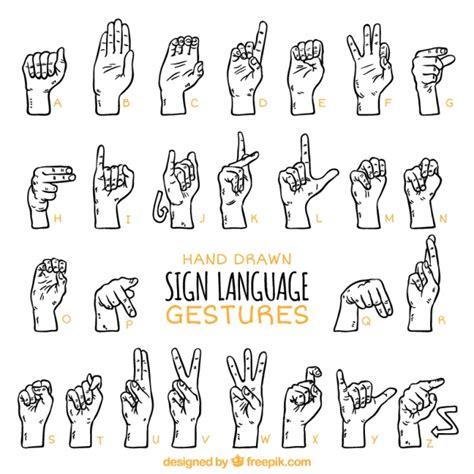 hand gezeichnete zeichensprache alphabet kostenlose vektor