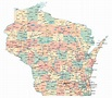 Large administrative map of Wisconsin state with roads ...