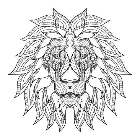 lion head  big mane lions adult coloring pages