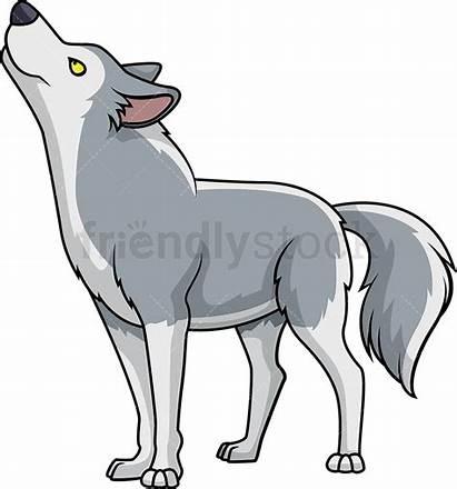 Wolf Looking Cartoon Clipart Vector Tongue Friendlystock
