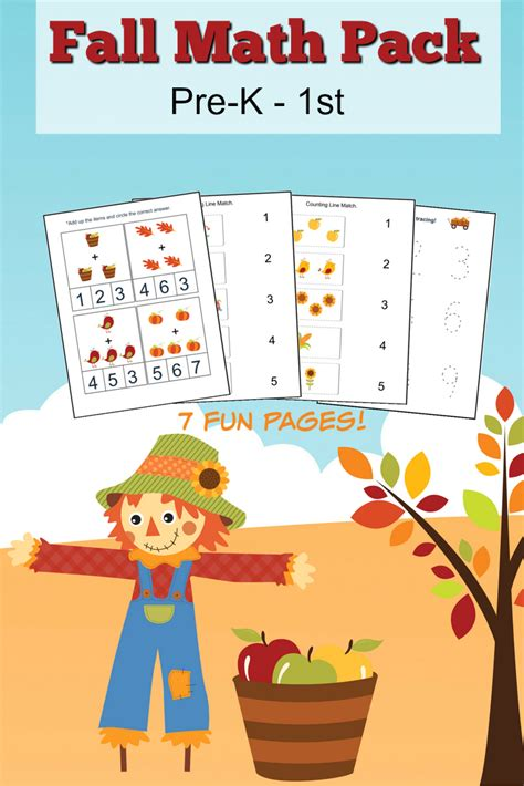 fall math worksheets for pre k to 1st grade frugal eh