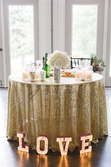 Glitzy Gold Sequin Sweetheart Table Linen Sweetheart