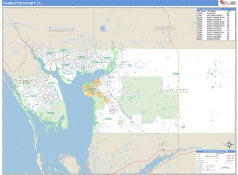 Charlotte County, Fl Zip Code Wall Map Basic Style By