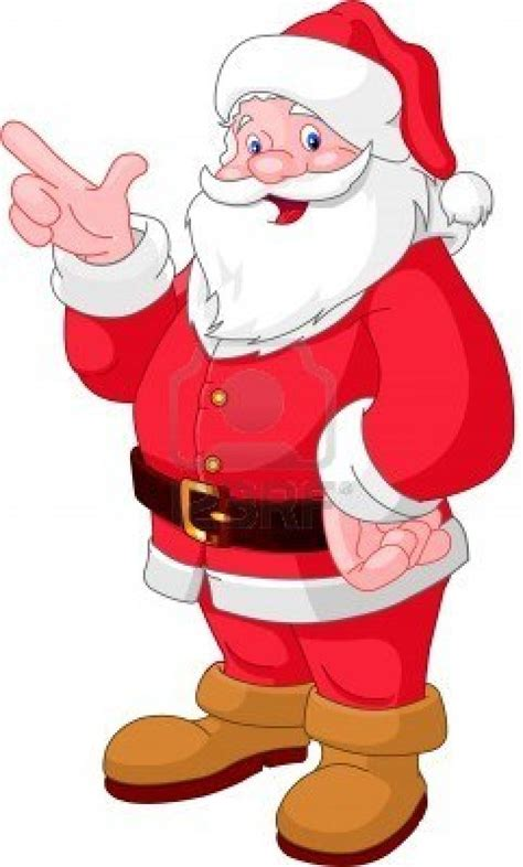 happy christmas santa claus pointing pin xmas
