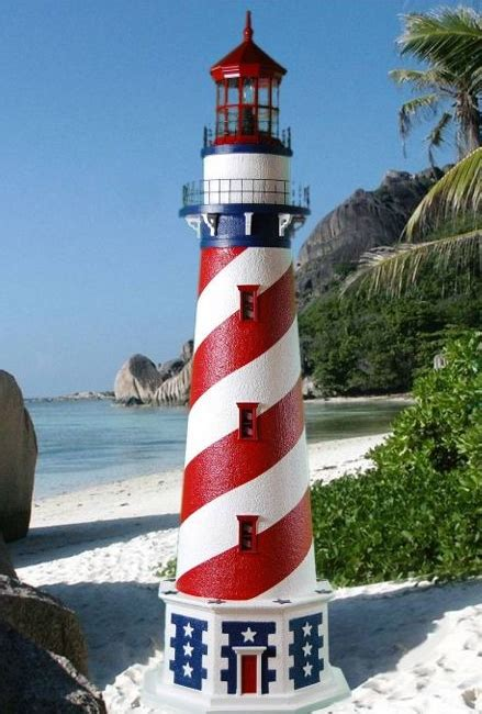 patriotic red white  blue lawn lighthouse  working