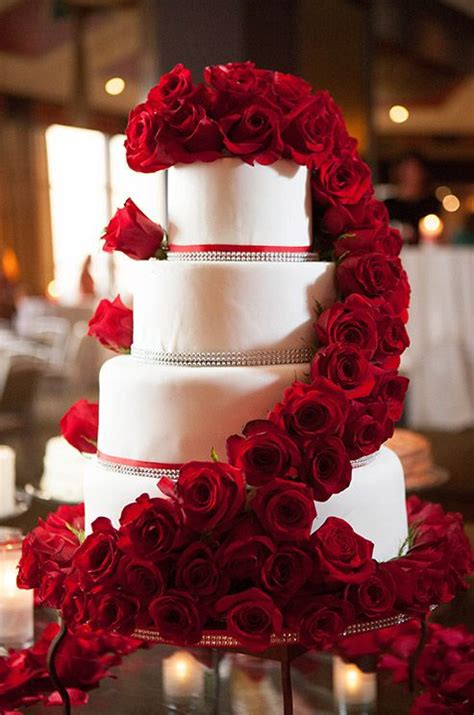 How Elegant Are Fresh Red Roses Ascending A Four Tiered