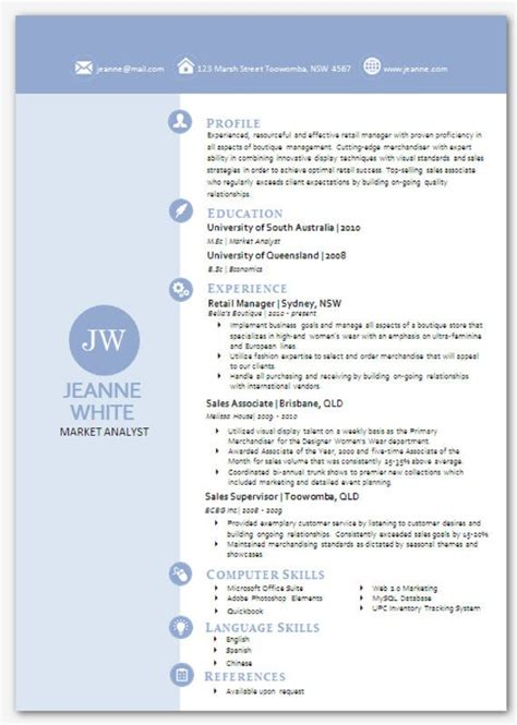Modern Resume Template Word Format by Modern Microsoft Word Resume Template Jeanne White 03