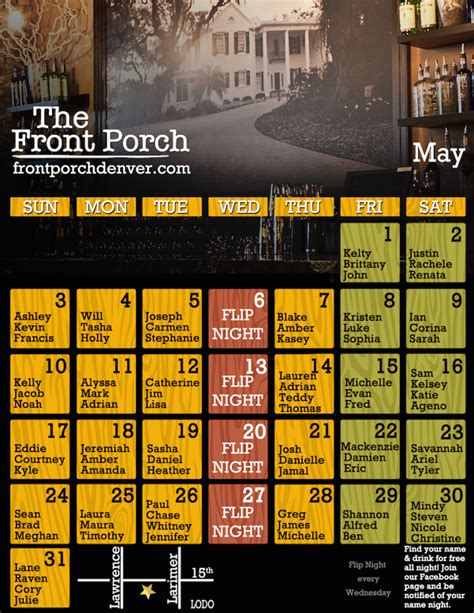 Front Porch Calendar by Front Porch Denver Bar Free Drinks Happy Hour Specials