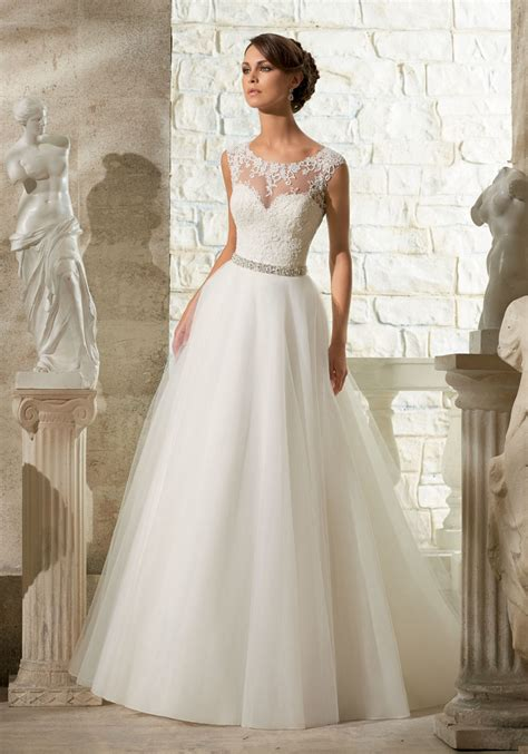 longsleeve big size lace appliques on soft tulle morilee wedding dress style