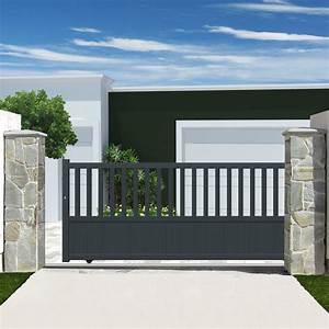 Portail En Aluminium : portail coulissant aluminium zorn gris anthracite primo l ~ Melissatoandfro.com Idées de Décoration