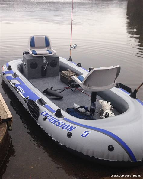 Fishing Off An Inflatable Boat by Transform An Inflatable Raft Into A Practical Fishing Boat