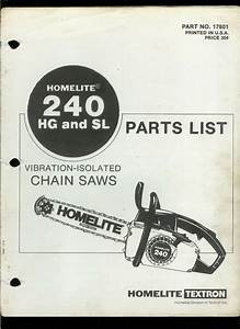 Rare Orig Homelite Textron 240 Hg Sl Chain Saw Illustrated
