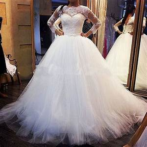 2015 new design tulle ball gown wedding dresses long for Long sleeve ball gown wedding dress