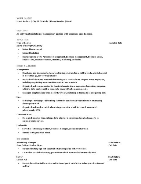 Recent Graduate Resume Template by Resume For Recent College Graduate