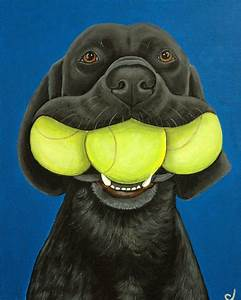Black Labrador Dog Three Tennis Balls Fine Art Print Black Lab