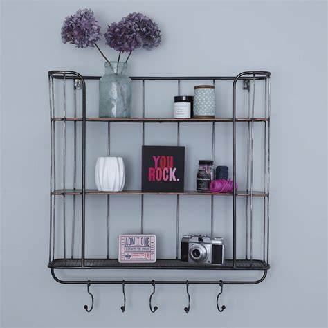 metal wall shelf three shelf metal wall rack by primrose plum