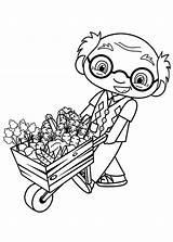 Lan Kai Ni Hao Coloring Ye Grandpa Cart Pulling Mr Flowers Pages Template Netart sketch template