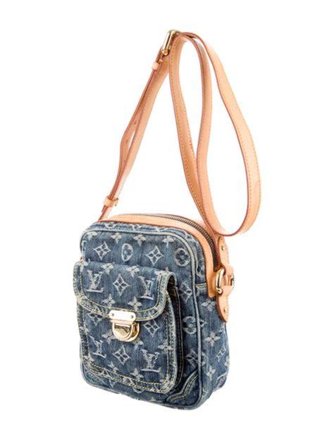 louis vuitton monogram denim crossbody bag handbags lou  realreal