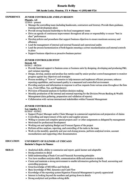 junior controller resume samples velvet jobs