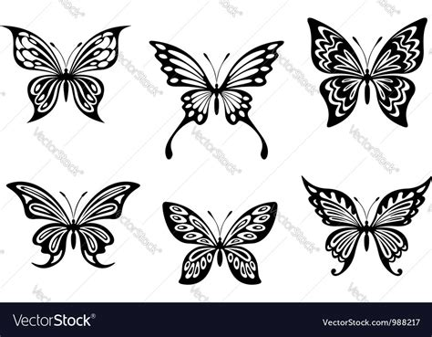 black butterfly tattoos royalty  vector image