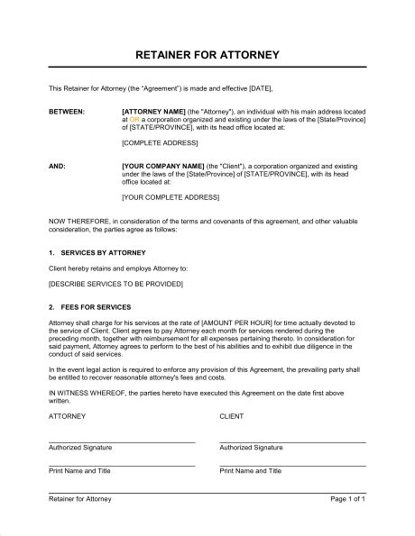 retainer agreement template retainer for attorney template sle form biztree