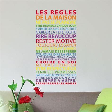 stickers regles de la maison sticker r 232 gles de la maison multicolore texte arc en ciel gali