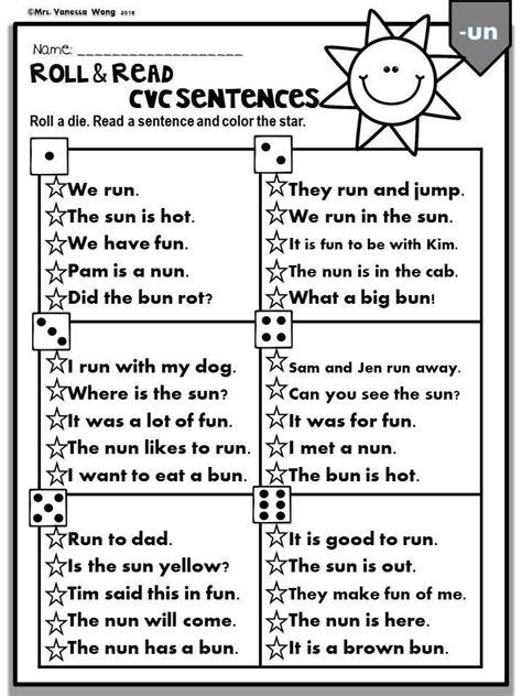 phonics cvc short vowels roll read sentences