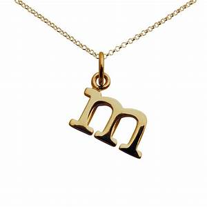personalised gold plated letter m necklace lily charmed With letter charm necklace