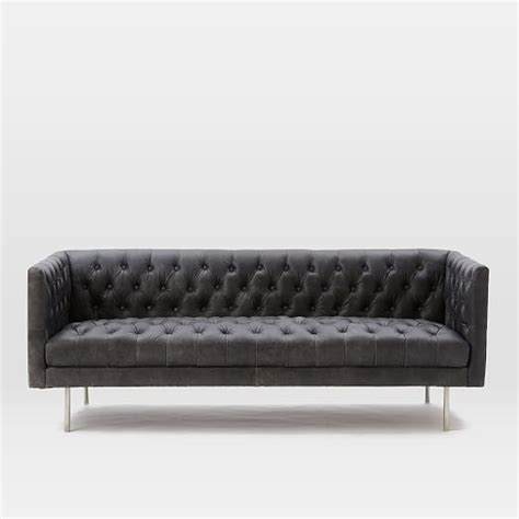 "Modern Chesterfield Leather Sofa (79"")  West Elm. Prestige Pools And Spas. Frameless Cabinets. Built In Coffee Maker. White Kitchen Countertops. Asian Decor. Mid Century Bar. Blue Stone Patio. Cypress Homes"
