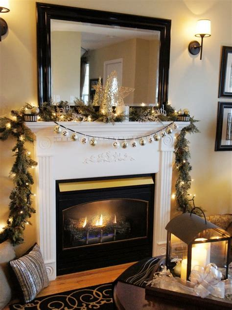 tv  decorated fireplace christmas fireplace mantel