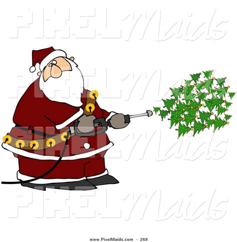 kris kringle trees clipart of a kris kringle spraying trees out of a pressure washer on white by djart 268