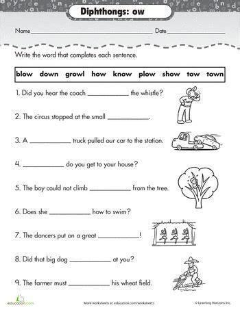 worksheets practice reading vowel diphthongs ow