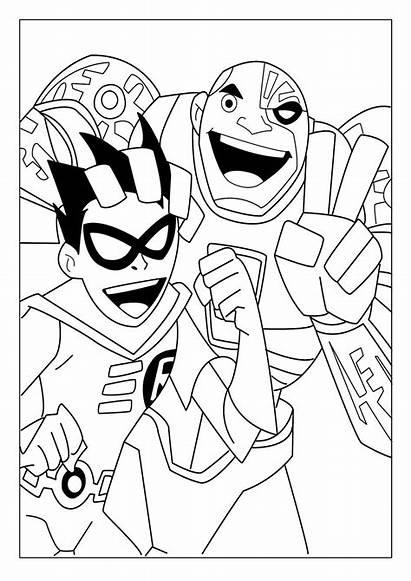 Titans Coloring Teen Robin Cyborg Colorear Titanes