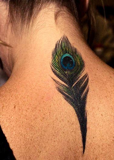 nape  neck peacock feather tattoo photo tattoomagz