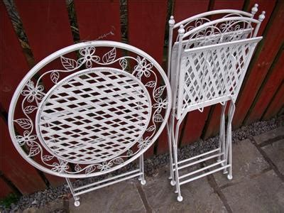 shabby chic bistro set garden furniture bistro set table and chairs patio shabby chic style white 1 ebay