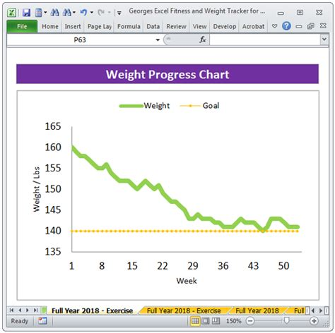 excel fitness weight loss tracker template  year