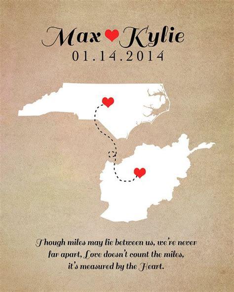 long distance relationship map print  custom art