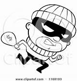 Clipart Running Burglar Cartoon Coloring Looking Cash Carrying Money Bank Sack Robbers Thief Robbery Robber Clip Thoman Cory Pages Case sketch template
