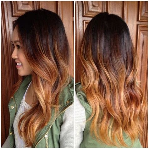 brunette  caramel ombre  long curly layers