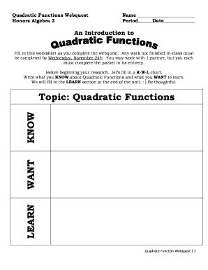 Fillable Online Quadratic Functions Webquest Honors Algebra 2 Name Period Date An Introduction