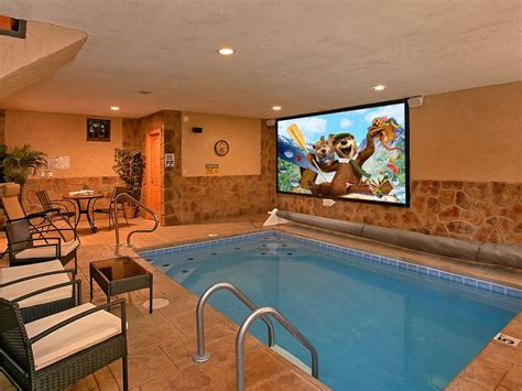 amazing cabin  private indoor pool pool theater