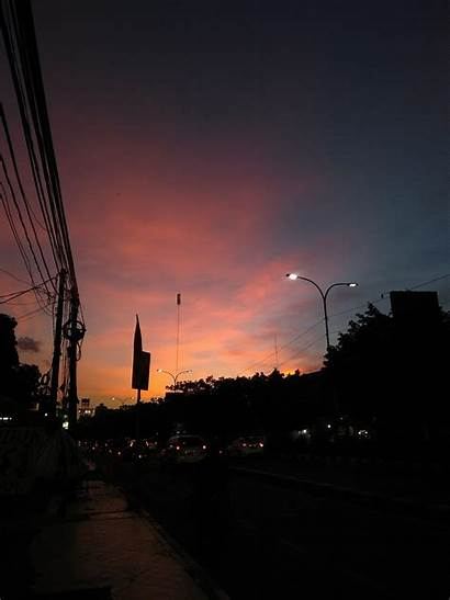 Senja Langit Pemandangan Sunset Kota Sky Depok