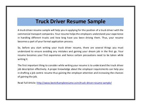 Resume Template For Truck Driving Job Costumepartyrun