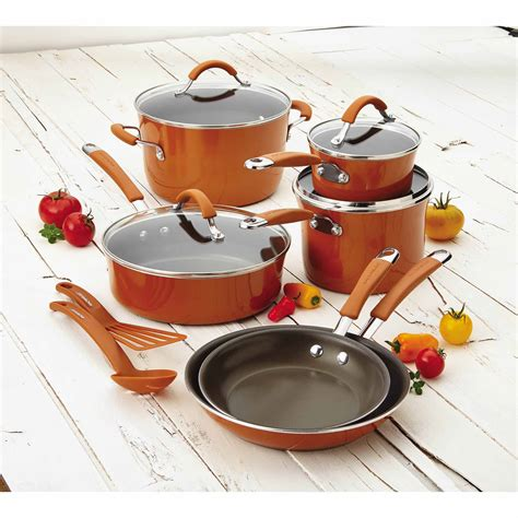 cookware rachael ray nonstick enamel cucina piece hard walmart glass orange pots stoves pans induction checker inventory save