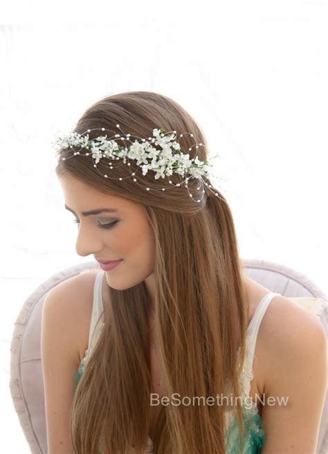 romantic wedding white flower crown  pearls beaded
