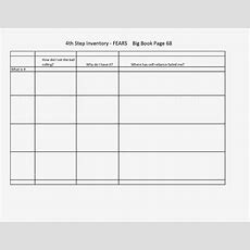29 Images Of 4th Step Fears Inventory Template Unemeufcom